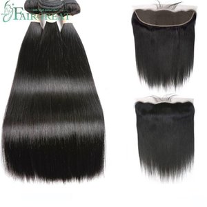 A Fairgreat Human Hair Brazilian Straight Hair Bundles With Lace Frontal 3 Pieces With Closure 13 *4 Non -Remy Human Hair Free Shipping