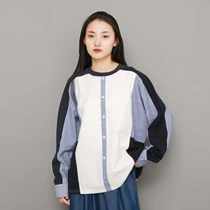 Johnature Women Patchwork Pullover Shirts Korean Style Cotton 2019 Spring New O-Neck Long Sleeve Tops Casual Women Cloths Loose