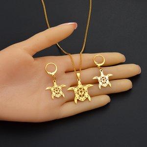 Anniyo Guam Jewellery sets Turtle & Palm Tree Necklaces Earrings Kiribati Chuuk Micronesia Hawaiian Tortoise Women Girls #132421