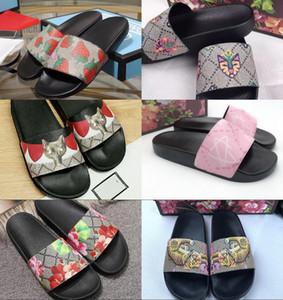 Pantofole da uomo Tiger Strawberry Floral Printed Leather Slides Fashion Designer di lusso Sandali donna 11 colori Designer pantofole con scatola