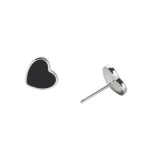 noir mignon femmes Boucles d'oreilles carrées Mode argent 925 bijoux de Noël Minuscule Stud SS925 brinco
