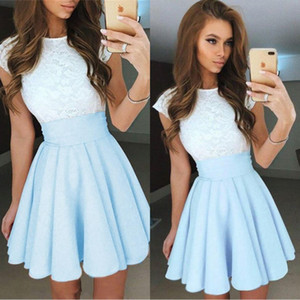 2019 Modest Light Sky Blue Lace Homecoming vestidos cortos de baile Bateau Neck Satin Ruched Mini Party vestido de cóctel para niñas BC1646