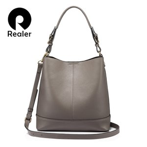Realer balde saco das mulheres bolsas de ombro crossbody sacos de bolsas de couro genuíno feminino senhoras mensageiro grande top-handle bags novo y190619