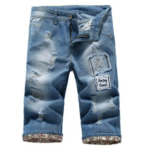 2020 New Fashion Mens Ripped Jeans Hole Cotton Breathable Denim Shorts Casual Simple Distressed Jeans Bermuda Masculina