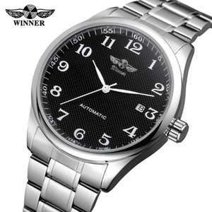Winner Fashion Simple Black Uhren Datumsanzeige Silber-Edelstahl-Geschäft Männer automatische Armbanduhr Top