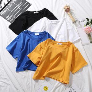 Cotton Solid T Shirts Women T -shirt 2020 Summer Short Sleeve O Neck BF Crop Top Tee Casual Fashion Loose Female Shirt