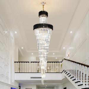 Novo design moderno de luxo grande pingente de ouro lustre de cristal iluminação lustres longo preto cristal lâmpada LED para escadas casa Hall Hotel
