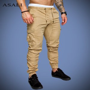 ASALI Solid Sweatpants Men Joggers Multi-pocket Pants Autunm 2020 New Fashion Long Trousers Male Elastic Waist Men's Sportswear T200606