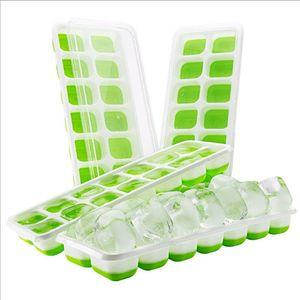 Moules à glaçons en silicone de qualité alimentaire Ice Cube moule avec 14 trous couverts Ice Cube Tray Set Bleu Vert en option LQPYW1051