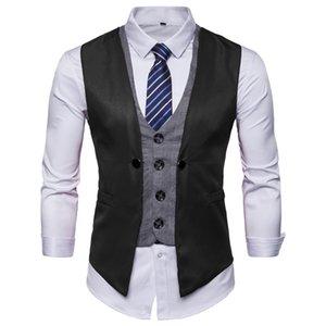 Men's brand new fashion casual vest leisure business fake two vest wedding best man men business waistcoat men