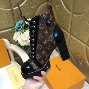 Moda Kadınlar Boots bağcıklı Bilek Boots Gerçek Deri ağır tabanları eğlence bayan Martin botları büyük beden 34-42 açık Kaliteli