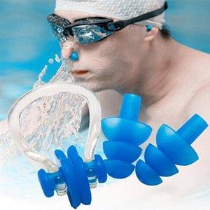 السباحة كليب الأنف سدادة الاذن مجموعات لينة سيليكون الأنف Nlip سدادة الأذن المقابس البدلة للماء السباحة سدادات الأذن كليب الأنف كيت 6 ألوان DBC BH3468
