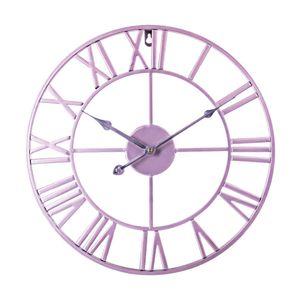 New 40cm Nordic Retro Round Iron Art Hanging Clock Three-dimensional Roman Numerals Silent Wall Clock for Home Decor - Rose Gold