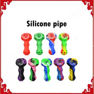 Silicone smoking pipe Hand Spoon Pipe Hookah Bongs multi Colors silicon oil dab rigs with dab tool VS twisty glass pipe blunt DHL