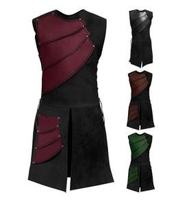 Adulto Men Medieval Arqueiro Larp Cavaleiro Herói Traje Guerreiro Black Armor Outfit Roman Solider Gear Coat Roupas M-3XL Cosplay