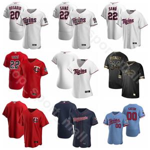 2020 Beyzbol Erkekler Kadınlar Gençlik 24 Josh Donaldson Jersey 26 Max Kepler 11 Jorge Polanco 20 Eddie Rosario Nelson Cruz Takım Beyaz Kırmızı