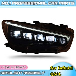 Car Styling Head Lamp for Infiniti Q50L Headlights Assembly All LED Matix Crystal Headlight DRL Day Running Light Lens