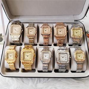 Mode gros Hommes Femmes Diamond Watch Glacé Montres Designers en acier inoxydable Mouvement Quartz Montre-bracelet Lady Montre bracelet