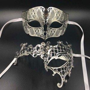 GNHYLL Lover Woman Men's Mask Silver Metal Couple Venetian Masquerade Masks Gold Ball Wedding Mardi Gras Party Eye Masks Set