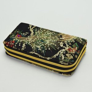 Toile Broderie femmes Wallet national style double face Peacock broderie tirette d'embrayage Portefeuille téléphone portable Sac