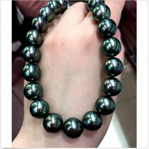 """18"""" Huge A11-12MM SÜDSEE BLACK GREEN PEARL NECKLACE YELLOW CLASP Freies Verschiffen"""