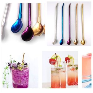 chaud en acier inoxydable long Straws cuillère à long manche Cuillère café thé au lait Agitateur Bar Cuiller BarwareT2I5748-1