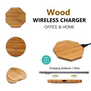 Bambu Kablosuz Şarj Ahşap Ahşap Pad Qi Hızlı Şarj Dock USB Kablosu Ile Telefon Şarj Tablet Şarj Iphone 8XXS max XR S9 artı