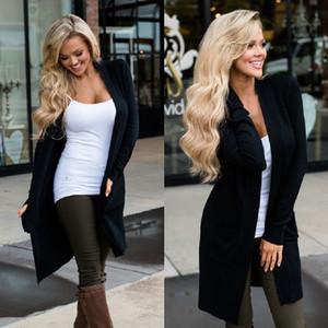النساء معطف قمم طويلة الأكمام سترة واقية سترة كم جيب معطف بلون ضئيلة من نوع طويل كارديجان 4