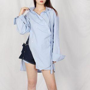 2020 Fashion Personalized Design Women Blouses Long Sleeve Turn-down Collar Irregular Blouse Shirt Casual Elegant Work Top
