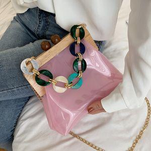 2020 neue reizvolle PVC-Frauen-transparente Geldbörsen und Handtaschen Schulter-Ketten-Beutel-Kasten-Entwurfs-Kupplung Umhängetasche Mini-Beutel-Partei Clutch