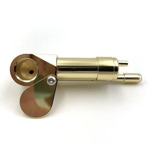 Tubulação de tubos de protóties de latão tubo de fumo de metal 3.38 Polegada tubulações portáteis com ferramenta de limpeza dourada tabaco tubo de tubulação Óleo borbulhante Venda quente de vidro