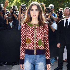Autunno Cardigan maglione per le donne Designer giacca di lusso manica lunga lascia alberi a maglia modello Top femminile