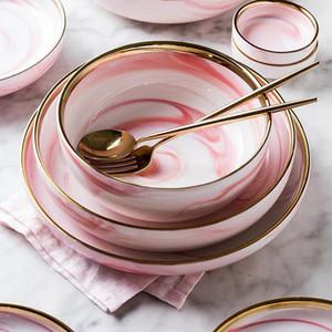 Marbre Rose Dîner Céramique Plat Salade de riz Plaque nouilles bol soupe assiettes en porcelaine Vaisselle Art de la table de cuisine Ensembles cuisinier Outil T200430