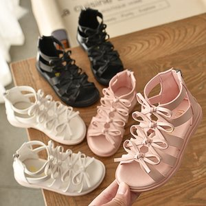 2020 Summer Children Gladiator Soft Leather Princess New Style Baby Girls Sandals Big Girl Shoes T200703