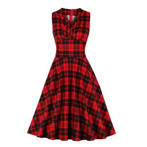 Red plaid vintage dress SP1090 pin up Summer Slim Sexy V-neck Coton Dress 2020 Women Dresses