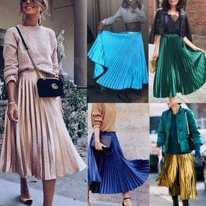 Мода Женщины Повседневная высокой талией Сыпучие Maxi юбка плиссе ретро Длинные Эластичный пояс Elegant Твердые Юбки Уличная