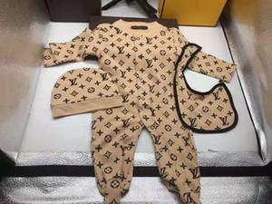 Nourrisson bébé nouveau-né garçon Stylistes Vêtements de bébé Garçons Filles plein manches souples en treillis barboteuses Hat + Jumpsuits Bib 3pcs / set