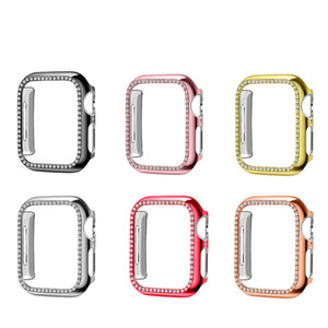 Diamond Watch Cover Luxury Bling Crystal PC Cover for Apple Watch Case for iWatch Series 4 3 2 1 Case 42mm 38mm single row Band