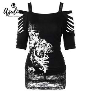 Rosegal Large Plus Size Shredding Cold Shoulder Túnica T-shirt Mujeres Verano Casual de manga corta camiseta larga de las señoras Tops ropa Y19042501
