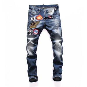 2020 мужские байкерские джинсы роскошь синий деним джинсовой марки # 601-1 высокого качества брюки вылейте Hommes рваные велосипедиста мужские джинсы дизайнер мужской одежды