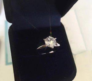 Hohe Version 925 Sterling Silber sechs Klaue 1-3 Karat Versprechen Diamantringe bague anillos Frauen Hochzeit Engagement Liebhaber Geschenk Schmuck heiraten