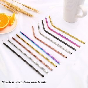 Reusable Drinking Straws Cleaning brushes Stainless Steel Metal Straws 6X215 mm Cold Beverage One Lot with 300 Straws 30 Free Brushes for 20