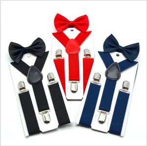 Çocuklar Askılar Fiyonk Moda Kemer Çocuk Bebek Retro Askı Bow Tie Seti Boys Kız Braces Elastik Y-Suspenders Y-geri C1445 Klip