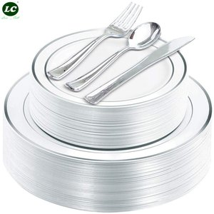 25 Guests Disposable Dinnerware Silver Plastic Plates with Plastic Silverware- Heavy Duty Plastic Plates with Silver Rim & Silverware