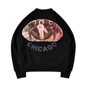 럭셔리 유럽 예수님입니다 왕 시카고 제한 유화 스웨터 느슨한 패션 커플 디자이너 높은 품질 풀오버 스웨트 HFXHWY109