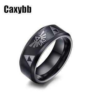2019 Men's Women's The Legend Of Zelda Triforce Ring Black Titanium Steel Bezel Costume Bague Jewelry gift