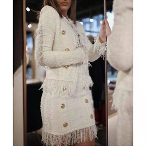 kadınlar lüks tasarımcı yünlü püsküllü beyaz tüvit iki parçalı elbiseler iki parçalı set yay sonbahar yün kruvaze ceket mini etek S-XL