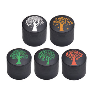 Lucky Tree Pattern Tobacco Grinders Dia. 50mm 4 Layers Cartoon Style Metal Dry Herb Grinder Spice Pepper Crusher Cigarettes Tools