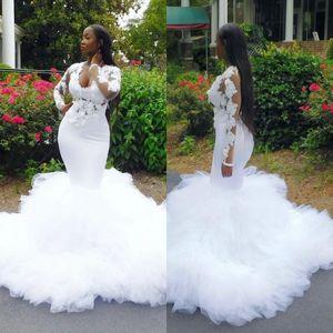 African Plus Size Wedding Dresses With Deep V Neck 3D Lace Appliques Mermaid Wedding Gowns Long Sleeves Bridal Wear vestidos de novia