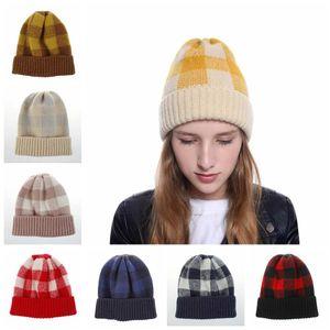 Mujeres Plaid Beanie Invierno cálido Sombreros de punto Unisex Sport Cap lana Esquí al aire libre Knit Crochet skull hat Bonnet LJJA2843